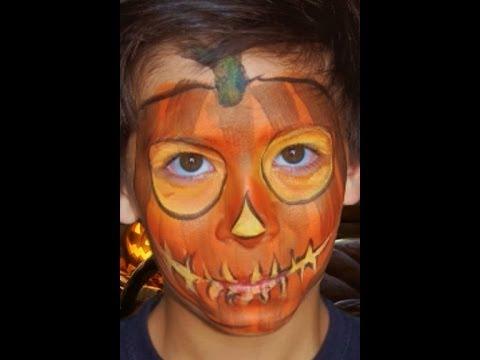 Jack O'Lantern Face Paint Design VIDEO Tutorial