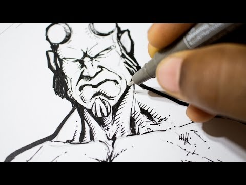 Drawing Hellboy - Sketch and Ink