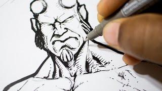Drawing Hellboy - Sketch and Ink