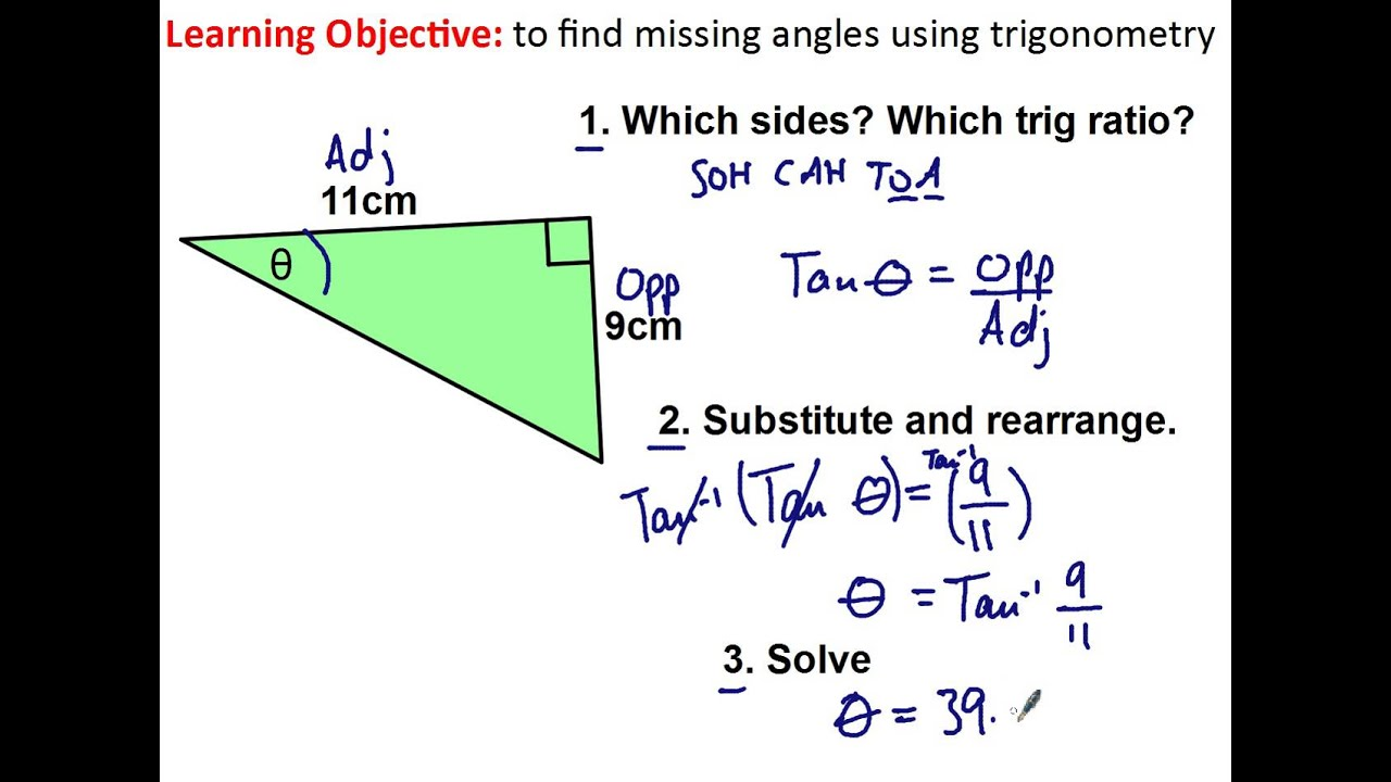 finding a missing angle using trigonometry youtube. Black Bedroom Furniture Sets. Home Design Ideas