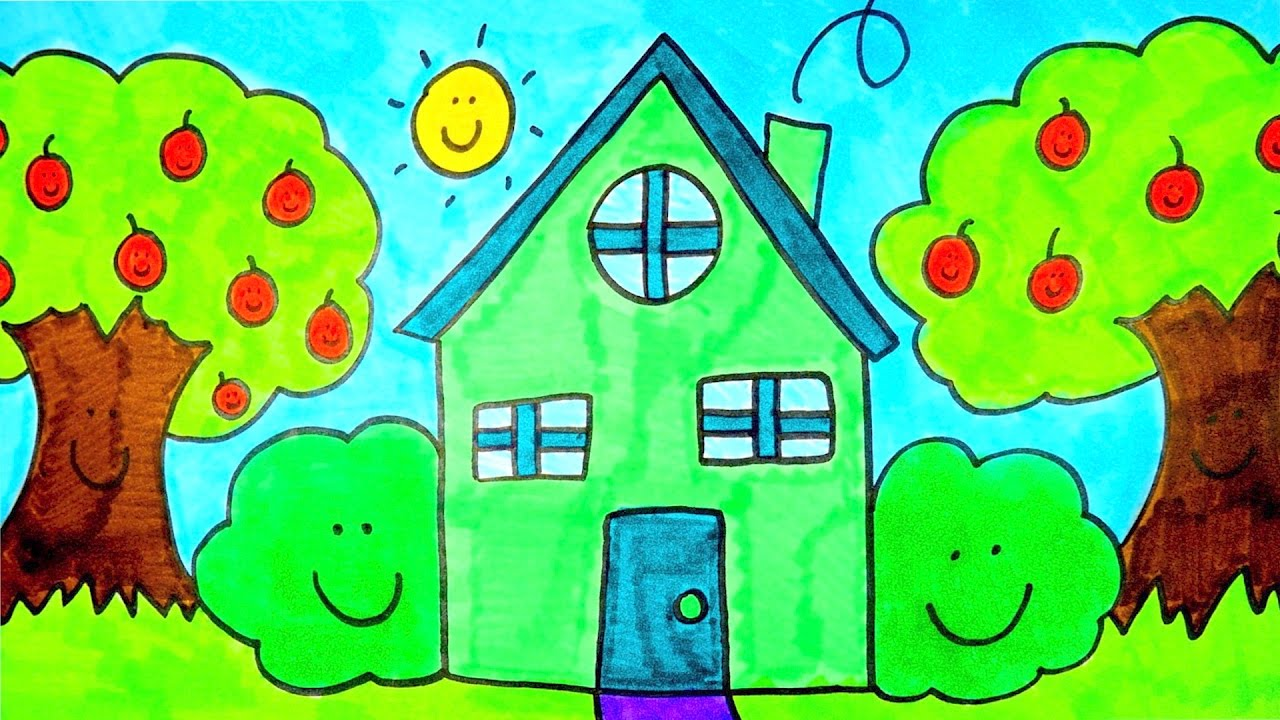 How To Draw A Cartoon House | Kids Coloring Videos - YouTube