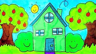How To Draw A Cartoon House | Kids Coloring Videos