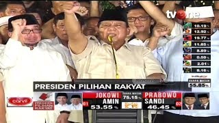 Klaim Menang 62% Berdasarkan 'Real Count', Prabowo Takbir dan Sujud Syukur