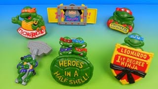 1989 TEENAGE MUTANT NINJA TURTLES RAD BADGES SET OF 6 BURGER KING KID'S MEAL TOY'S VIDEO REVIEW