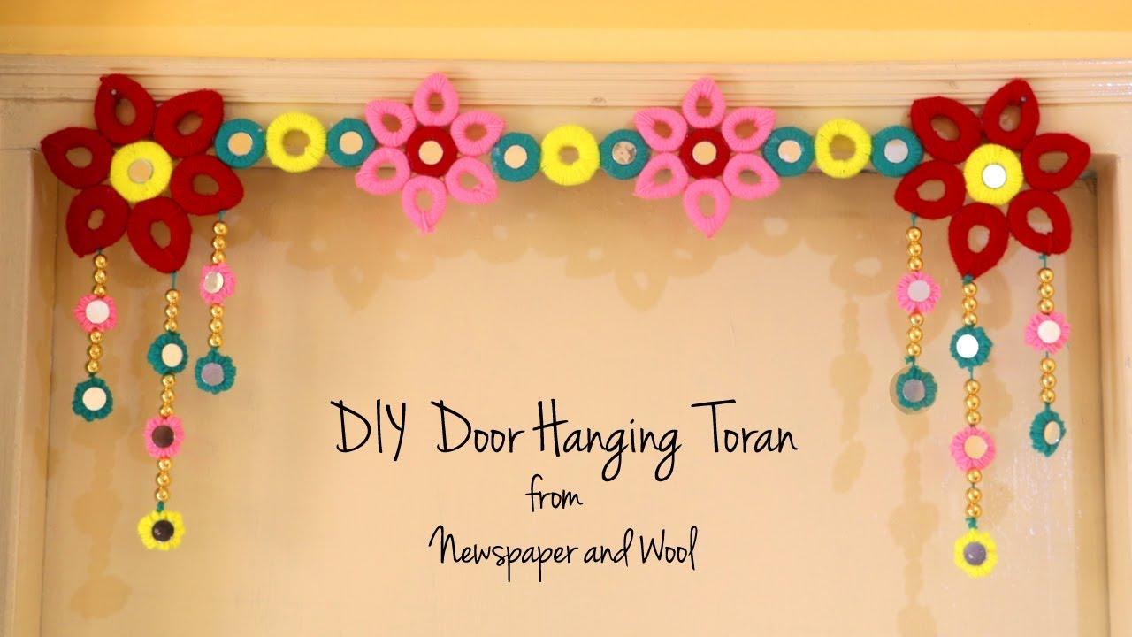 DIY Door Hanging Toran | Diwali Decoration Ideas | Bandhanwar Making At Home  | Newspaper Crafts