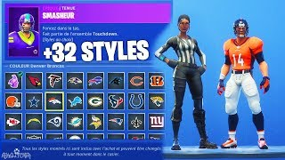 10 NOUVEAUX SKINS *NFL* TOUCHDOWN (+32 STYLES) ! Fortnite Battle Royale