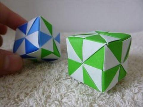 ハンドメイドユニット折り紙おりがみ6枚で作る幾何学模様の四角形立方体折り方・作り方 How to make a geometric pattern cube