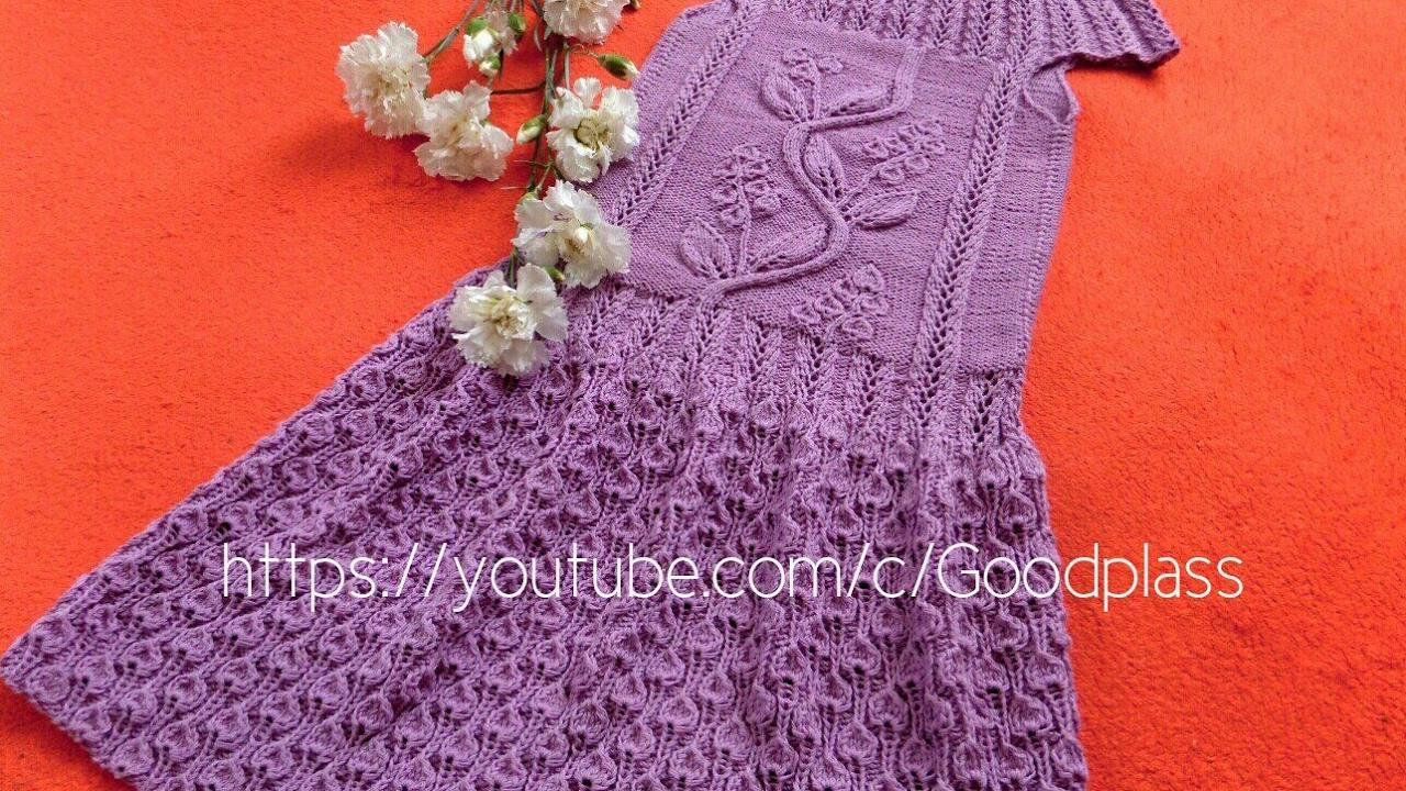 схема вязания крючком ажурного платья с круглой кокеткой на девочку 1 год