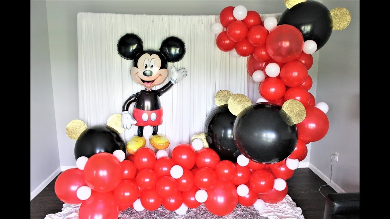 Mickey Mouse Backdrop Balloon Garland Diy How To