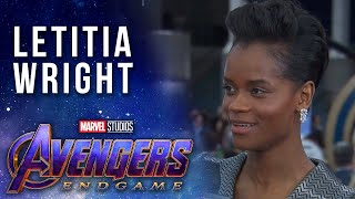 Letitia Wright reacts to Shuri getting snapped by Thanos LIVE from the Avengers: Endgame Premiere