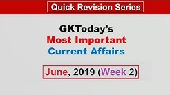 June 2019 Week 2(08-15 June) Current Affairs[English]
