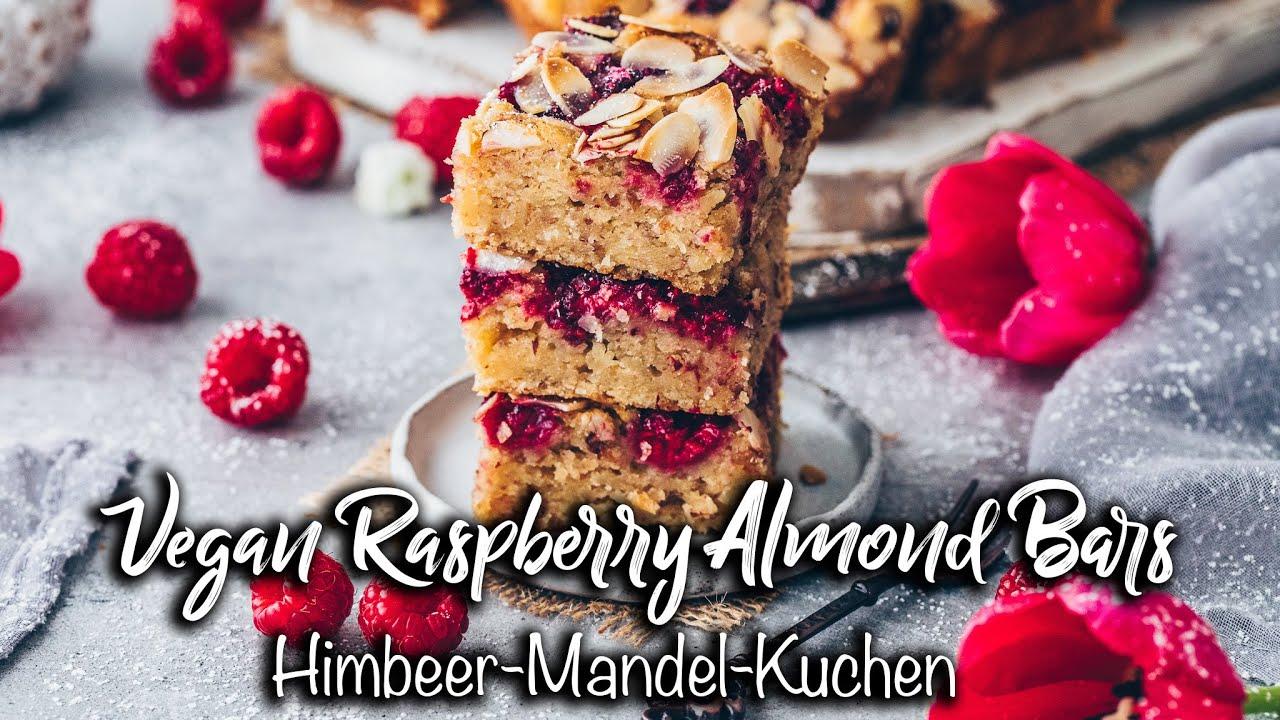 Saftige Vegane Himbeer-Mandel-Kuchen Schnitten *Einfaches Rezept* So lecker!