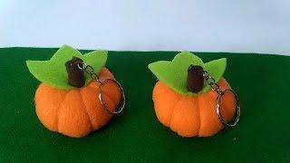 Tutorial Gantungan Kunci Labu Dari Kain Flanel   How to Make a felt pumpkin