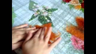 Букет осенних листьев (мастер - класс по валянию)