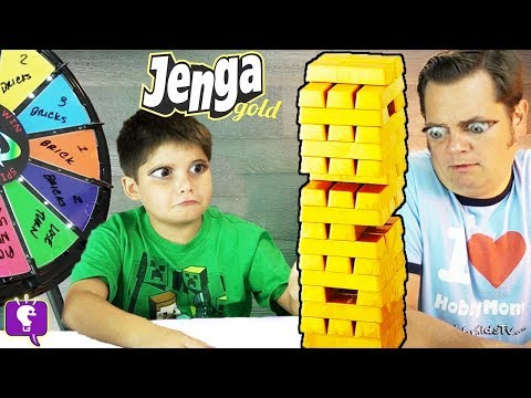 JENGA GOLD! Spinning Wheel of Doom + Fools Gold, Family Game Night HobbyKidsTV