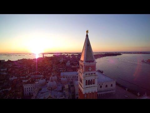 Venice, Sunrise on Piazza San Marco Aerial Tour (4K Footage)