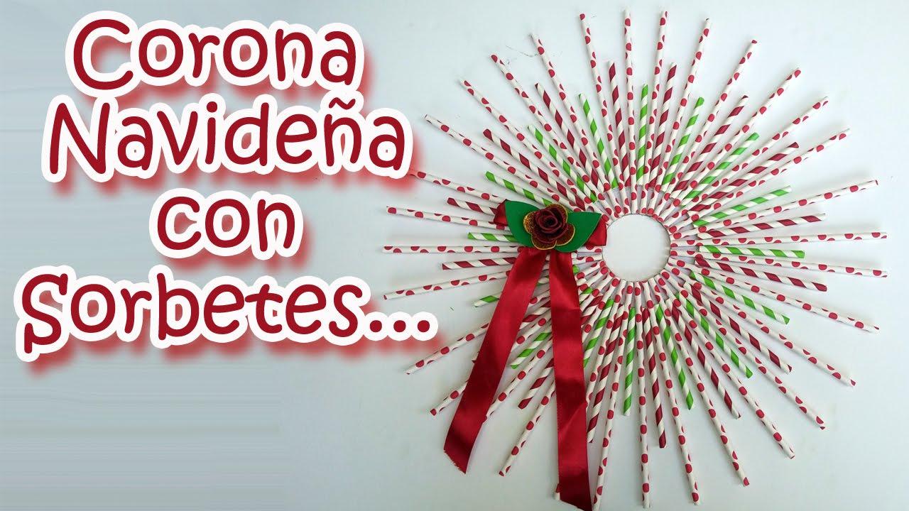 Adornos navide os corona de navidad con pajitas - Manualidades de ganchillo para navidad ...