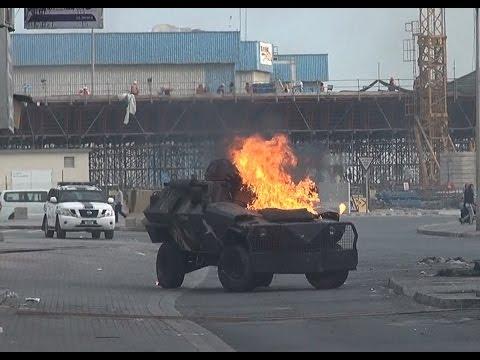 رشق المدرعة الخليفية بالزجاجات الحارقة - بلدة النويدرات 28/1/2017 Bahrain