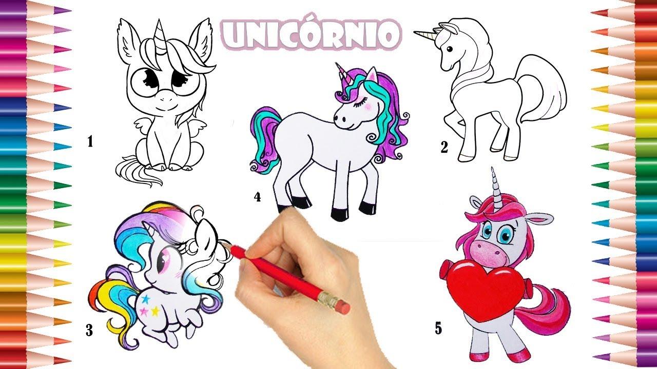 5 Unicórnios Para Você Pintar Desenhos Kawai Desenhos Para Crianças Desenhos Para Imprimir