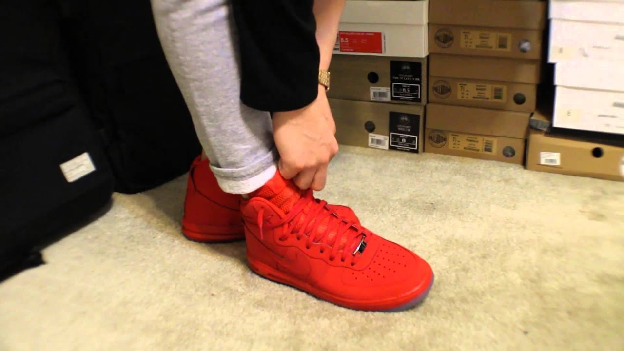 72198e8c167 Nike Lunar Force 1 High University Red Ice Sole (ON FEET) - YouTube