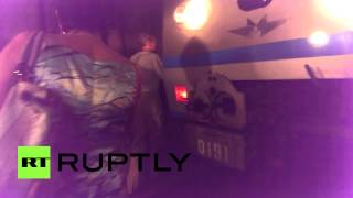 Metro crash video: Passengers escape from Moscow underground