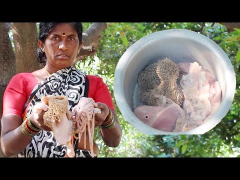 Goat Intestine Recipe Video - How To Cleaning - Intestine Curry Village Style Cooking - FOOD ADDA