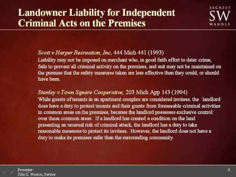 Landowner Liability for Independent Criminal Acts on the Premises 7 29 14