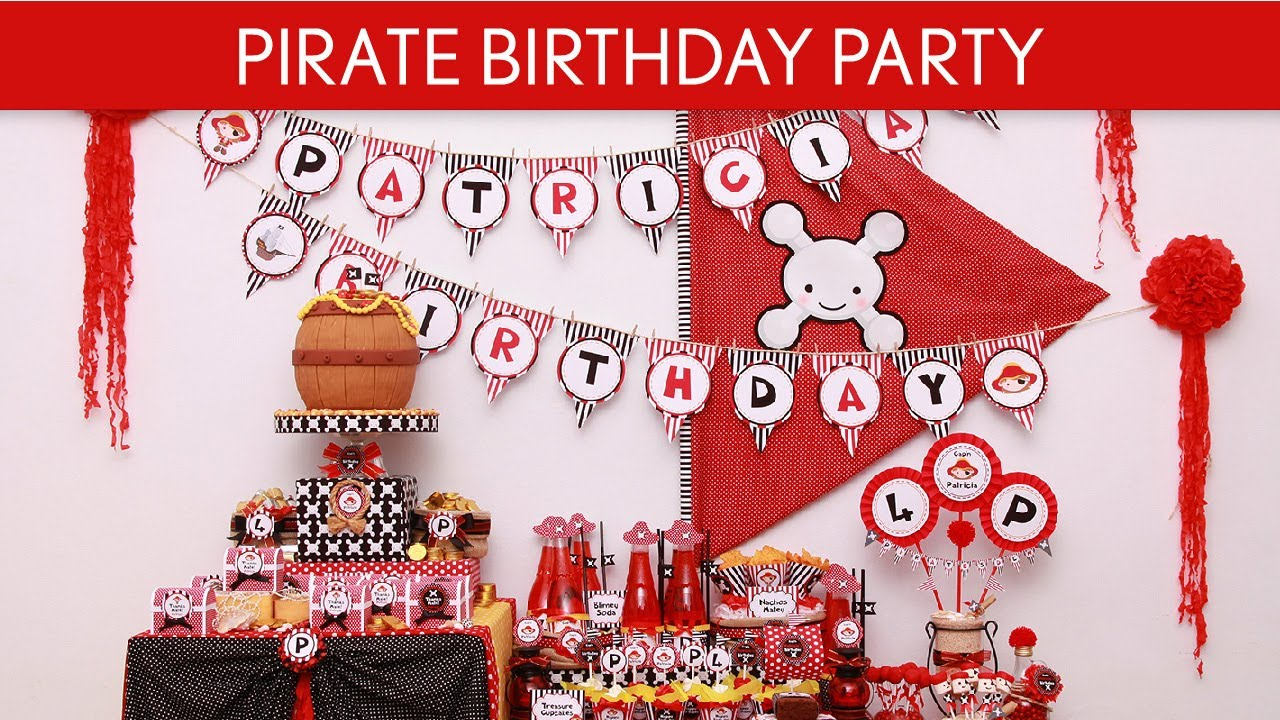 Pirate Birthday Party Ideas Pirate Girl Red B8 Youtube