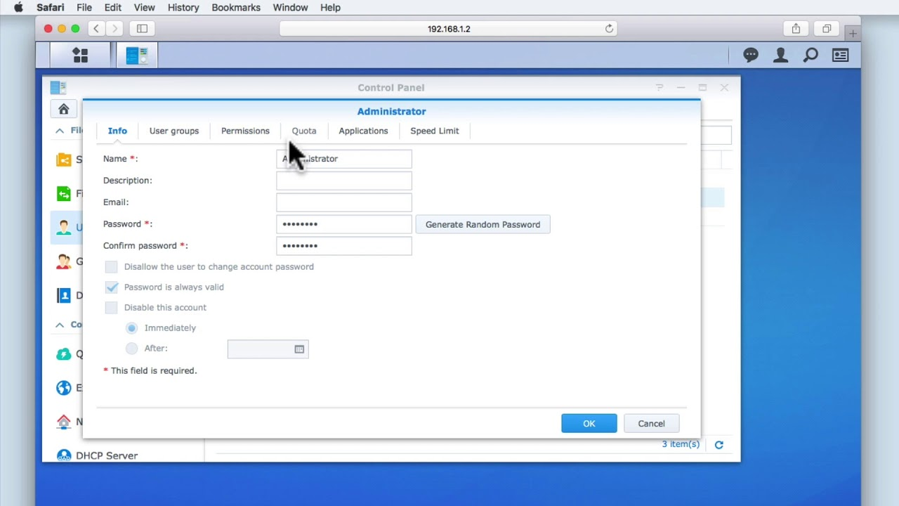 How to setup a Synology NAS Part 6: Reviewing the basic User account  settings