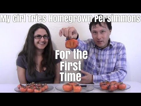 My Girl Tries Homegrown Persimmons For the First Time