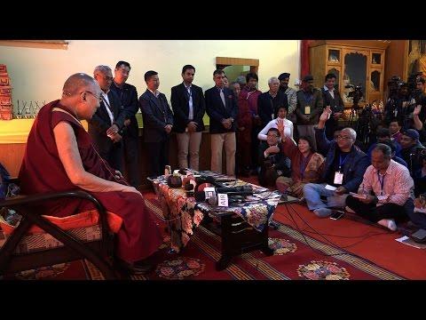 His Holiness the Dalai Lama talk during press conference at Tawang