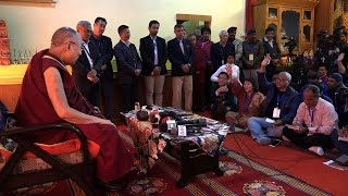 His Holiness the Dalai Lama talk during press conference at Tawang