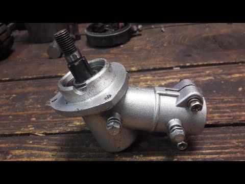 Trimmer repair replacing the bevel gear head. Brushcutter MacAllister Stihl