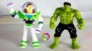 العملاق هالك يقابل باظ يطير لعبة شخصيات كارتون للاطفال hulk meets Buzz Lightyear toy story