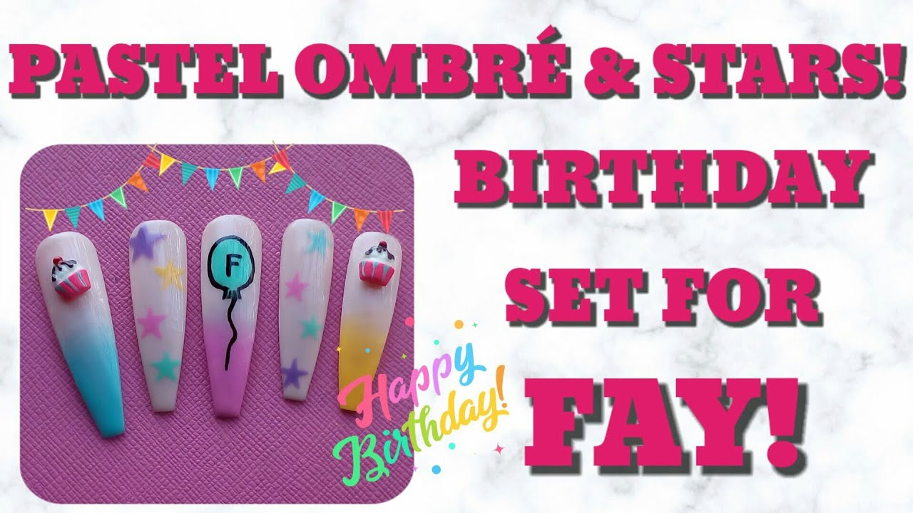 PASTEL OMBRÉ & STARS EASY NAIL ART | BIRTHDAY SET FOR FAY/ NOT A BEAUTY QUEEN 06 | CHARLIES NAIL ART