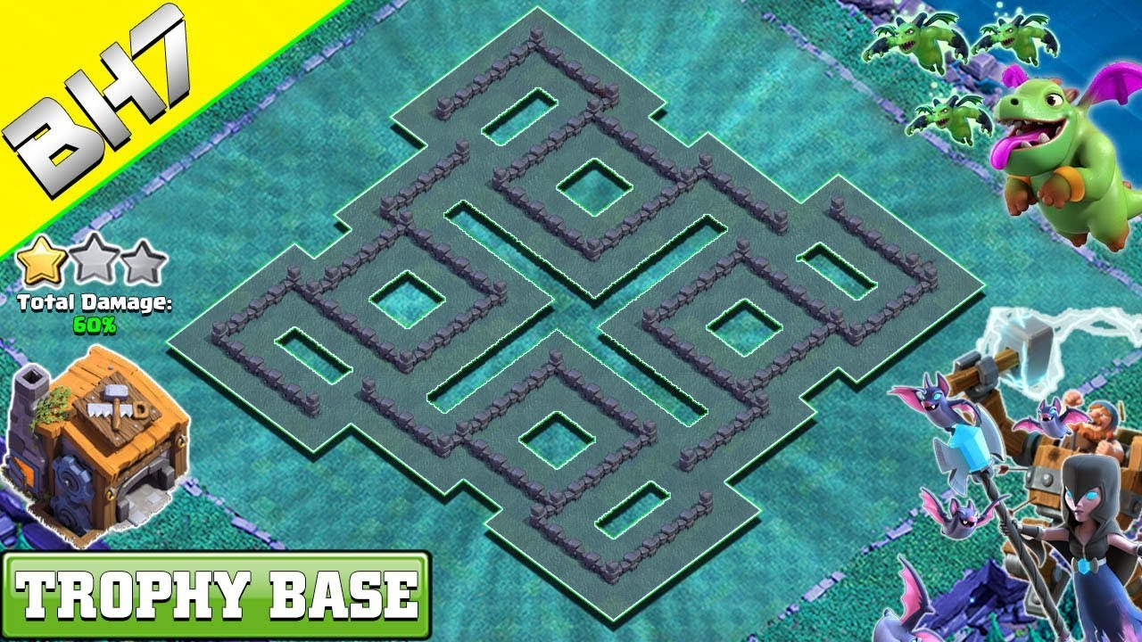 Best Builder Hall 7 Bh 7 Base 2019 Design Clash Of Clans Youtube