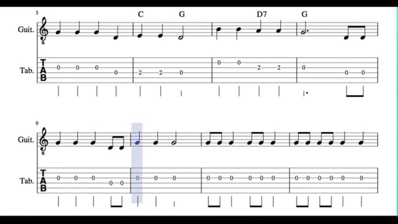 Old Mc Donald Had a Farm Tabs Sheet Music for Guitar in G major