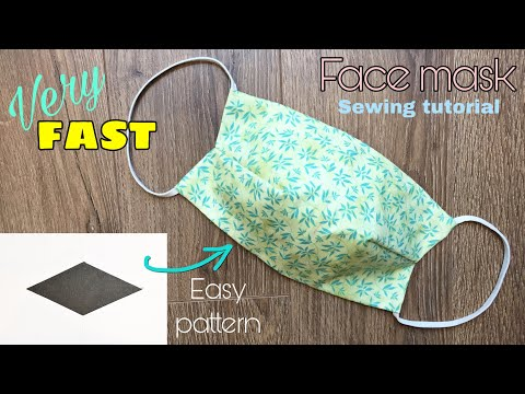 [VERY FAST] Easy pattern - How to make a fabric face mask with filter pocket - no sewing machine