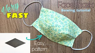 VERY FAST Easy pattern How to make a fabric face mask with filter pocket no sewing machine