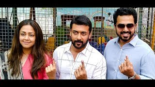 LIVE VIDEO: Suriya, Jyothika & Karthi Classic Pose after Casting their Vote! | Election 2019