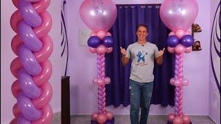 TRENZA DE GLOBOS - como hacer columnas de globos y decoracion con globos - gustavo gg