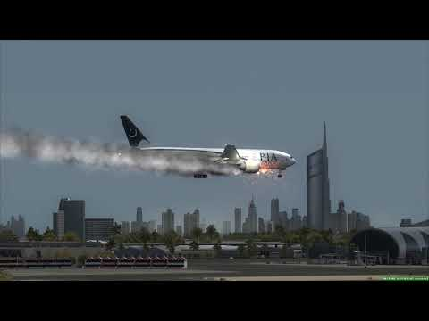 PIA 777 Engine Fire [Gear Fail] Crash at Dubai +++ FSX