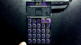 playing the PO-20 ARCADE Pocket Operator!