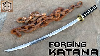 Forging a KATANA out of Rusted Iron CHAIN