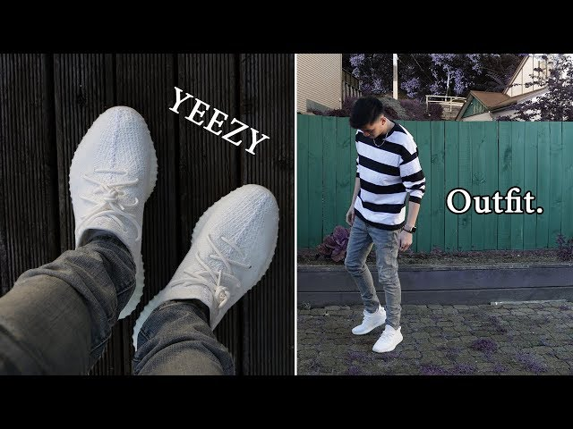Outfit with YEEZY 350 V2 Triple White