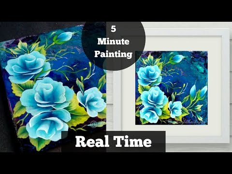 EASY Acrylic Painting Roses – Valentine's Day – Painting Lessons  for Beginners – BLUE – Day #21