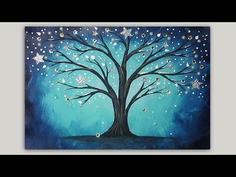 Acrylic Painting - Whimsical Winter Tree