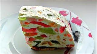 """Торт - желе """" Битое стекло """" / Желе из сметаны / Желейный десерт без выпечки"""