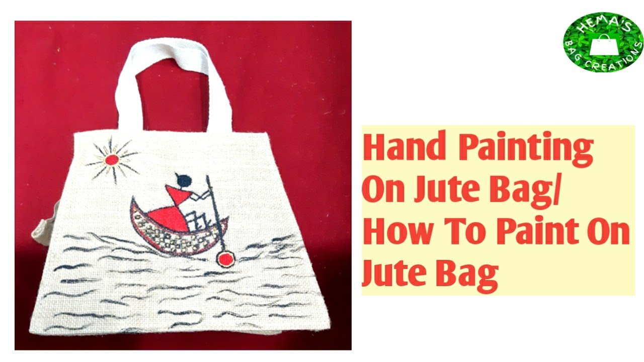 How To Paint Designs On Jute Bag Hand Painting On Jute Bag Jute Bag Painting Warli Art On Jutebag Youtube