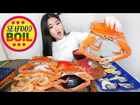 SEAFOOD BOIL MUKBANG | CRAB LEGS SHRIMP FRESH OYSTERS EATING SHOW
